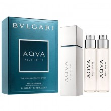 Bvlgari Aqva Pour Homme Edt 3X15 Ml Refillable Travel Set