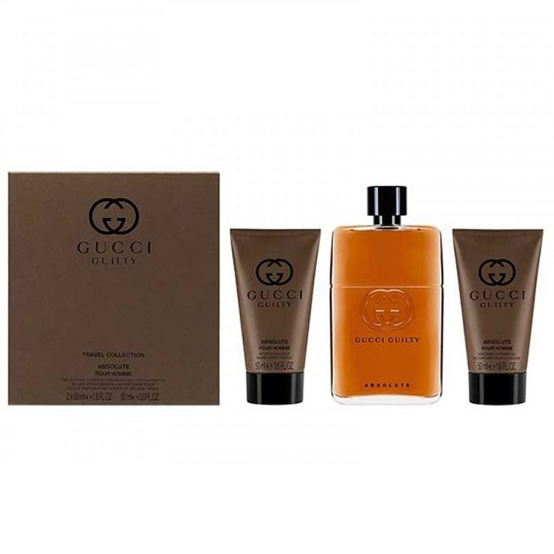 Gucci Guilty Absolute (M) Edp 90Ml+50Ml Asb+50Ml Shampoo Travel Set